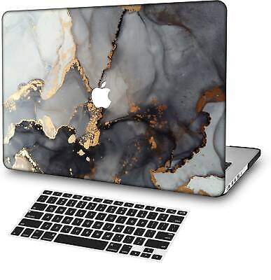 $14.42 • Buy Gray Gold Marble Rubberized Matte Hard Cut Out Case KB Cover For Macbook Pro Air