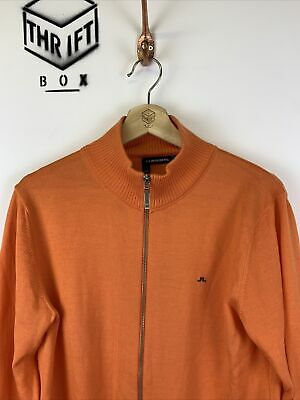 J.LINDEBERG, Size S, Orange, Small Logo, Zip Thru Thin Knit Golf Jumper,*EX COND • 26.99£