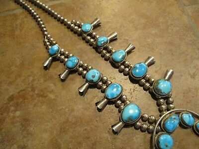 $ CDN986.76 • Buy DYNAMITE Vintage Navajo Sterling CARICO LAKE Turquoise SQUASH BLOSSOM Necklace
