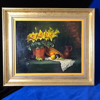 $ CDN346.71 • Buy Daffodil And Lace Painting Oil Framed Artist Esther Glazer 1998