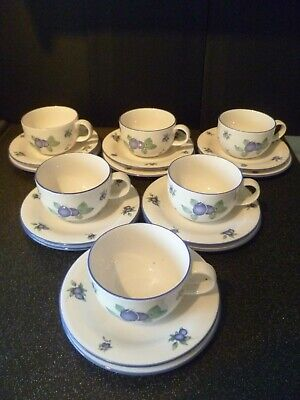 Royal Doulton Everyday Blueberry Cups, Saucers & Side Plates Trios X 6 • 24.99£