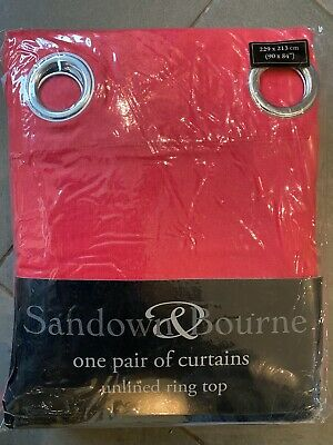 Pair Of Red Sandown And Bourne Unlined Ring Top Curtains • 7.25£