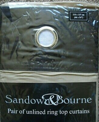 SANDOWN AND BOURNE 46  X 54  RING TOP, SAND COLOUR CURTAINS.  • 9.95£