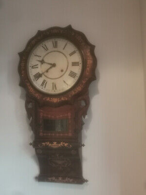 Anglo American Antique Victorian Hardwood With Inlay Chiming Wall Mounted Clock • 120£