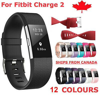 $ CDN5.44 • Buy For Fitbit Charge 2 Band Replacement Silicone Strap Black Soft Bands Small Large