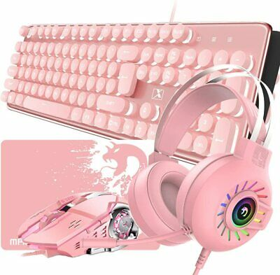 AU105.89 • Buy AU Pink Wireless Keyboard Mouse And Headset LED Backlit Rechargeable For PS4 PC