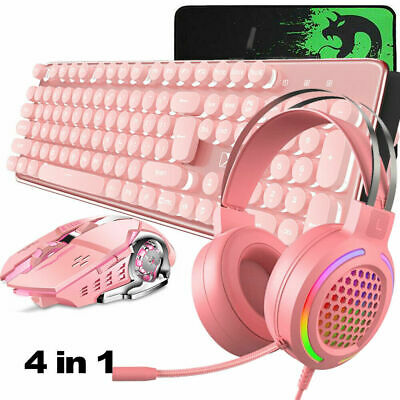 AU105.89 • Buy Gaming Wireless Keyboard Mouse And Headset LED Backlit 4800 MAh Mechanical Feel