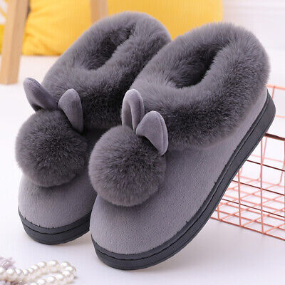 £10.88 • Buy Women's Bootie Slippers Ears Ball Ankle High House Shoes Anti-Slip Warm Boots UK