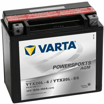 Varta Sealed Motorcycle Powersports AGM Battery YTX20L-4 / YTX20L-BS Charged • 70.94£