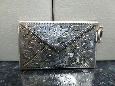 Antique Silver Stamp Case C. 1905 Decorative Etching And Inscribed Lettering • 50£