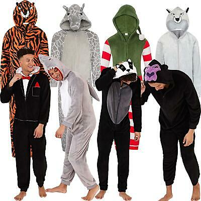£24.95 • Buy Mens/Boys Fleece All In One Pyjamas Outfit Costume Hood Size S-XL