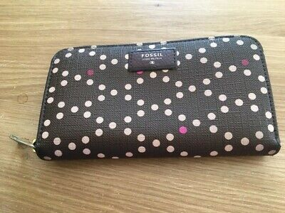 Authentic FOSSIL Brown Pattern Vinyl Purse With Pink And Cream Spots. • 3.99£