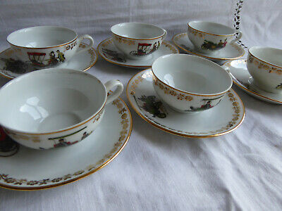 SET Of 6 VINTAGE FRENCH PORCELAIN COFFEE CUPS & SAUCERS - VINTAGE CARS  • 25£