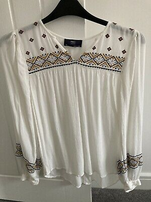 Marks And Spencer Top Blouse 10 Cheesecloth Hippie Boho Peasant Cream • 1.50£
