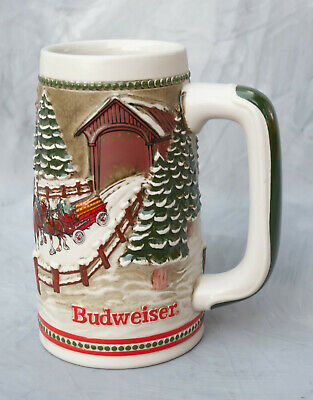$ CDN15.71 • Buy Budweiser Stein 1984 Limited Edition Stein Hitch Through Covered Bridge-Ceramart