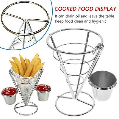 £7.12 • Buy Fries Foods Stand Holder French Fry Chips Cone Metal Wire Basket + Sauce Dippers
