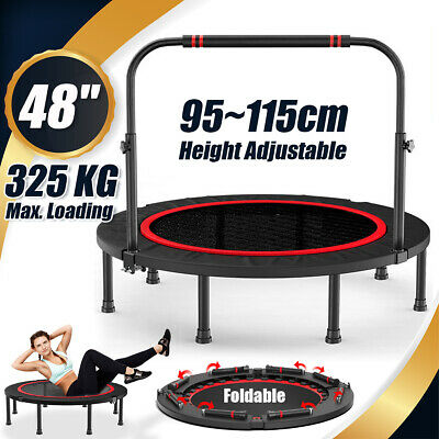 48  Foldable Trampoline Exercise Fitness Rebounder Cardio Trainer Home Gym • 52.99£