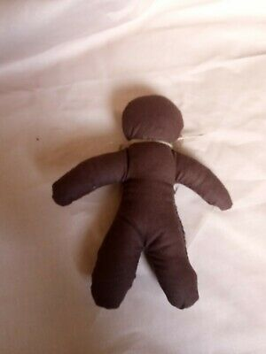 Voodoo Doll Handmade Brown Cotton Stuffed With Kapok Black Eyes • 5£