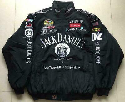 Autumn Winter Jack Daniels Motorcycle Racing Jacket Embroidered Cotton Padded • 41.99£
