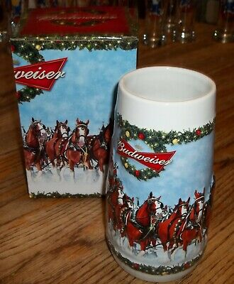 $ CDN13.09 • Buy 2009 Clydesdales Budweiser Holiday Christmas Stein Ceramic Beer Mug MIB