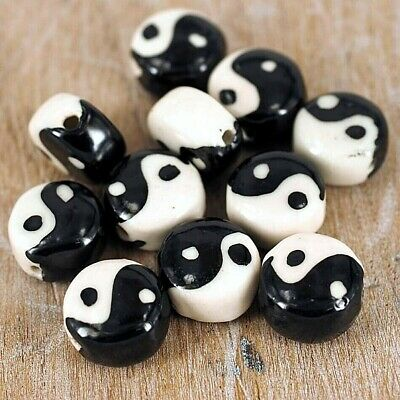 Beads, Ying Yang ,Emoji,  Clay Polymer , Jewellery Making Pk 10 G8 • 2.99£