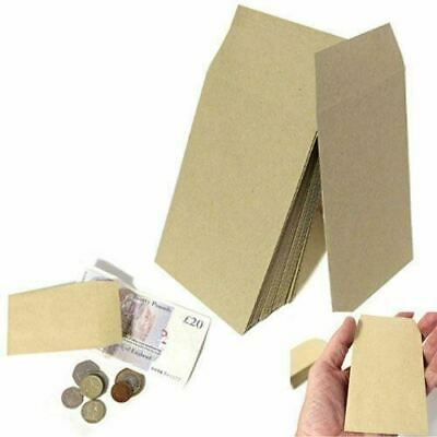 £0.99 • Buy SMALL BROWN ENVELOPES 100x62mm DINNER MONEY WAGES COIN TUCK POCKET SEEDS BEADS