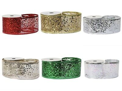 Glitter Mesh Wired Ribbon Width 63mm White Gold Silver Red Green Champagne  • 2.57£