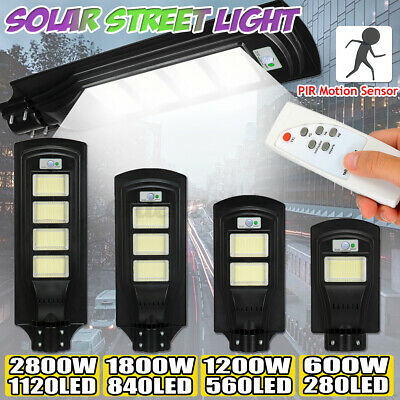 600W-2800W LED Wall Street Light Solar Powered PIR Motion Lamp Garden Road Path  • 36.99£