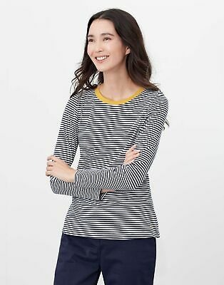 Joules Womens Selma Long Sleeve Crew Tee - Navy Cream Stripe • 11.95£