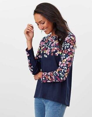 Joules Womens Harbour Long Sleeve Jersey Top - Navy Floral • 22.95£