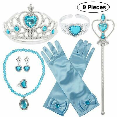 New 9 Pieces Set Girls Child Kids Princess Queen Wand & Tiara Crown Dressing Up • 5.89£