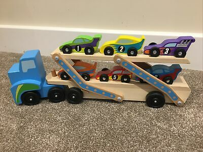 Melissa And Doug Car Transporter Wooden Toy Race Cars • 7.50£