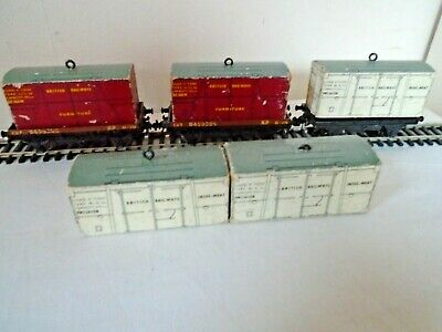 3 X Flat  Wagon And 5 X Containers., Hornby Dublo 00 Gauge • 3.03£