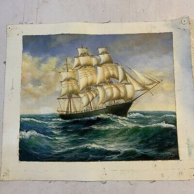 Reproduction Oil Painting Maritime Ship Ocean Canvas • 6£