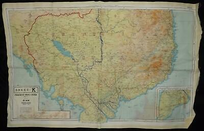 Silk Map Double Sided 44 J / K French Indo China South & Central Siam Thailand • 85£
