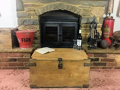 Old Antique Pine Chest, Blanket Box, Vintage Wooden Storage Trunk, Coffee Table. • 19.99£