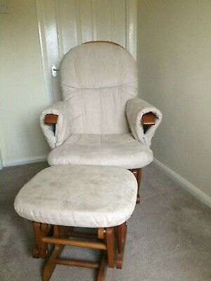 Nursery Rocking Chair Solid Wood With Rocking Foot Rest, Padded Arms.  • 30£