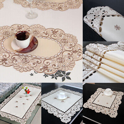 AU7.28 • Buy White Embroidery Floral Lace Tablecloth Wedding Dining/Party Table Cloth Cover