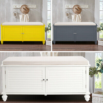 Modern Bedroom Storage Bench With Cushion Shoes Cabinet Cupboard Entryway Seats • 115.14£