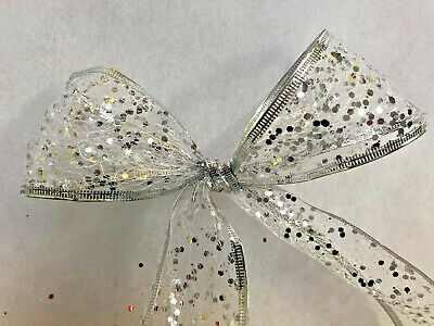 63mm Wired Edge Sparkly Glitter Mesh Ribbon White, Silver, Red, Gold PER METRE • 1.99£