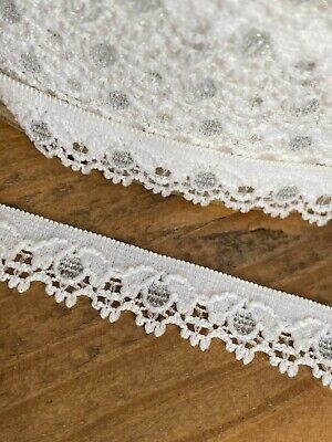 $ CDN6.64 • Buy Laverslace White & Silver Narrow Elastic Stretch Lace Trim 1cm Sewing Lingerie
