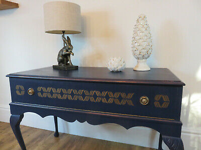 Hand Painted Dark Blue Console Table With Storage - Upcycled • 175£