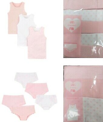£4.99 • Buy Bnwt Mothercare Girls 3 & 5 Pack Pink White Cotton Vests Knickers Hipster Shorts