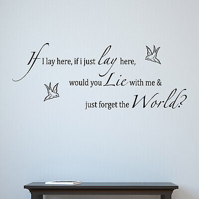 If I Lay Here - Swallows Chasing Cars Song Lyrics Snow Patrol Wall Sticker Decal • 16.45£