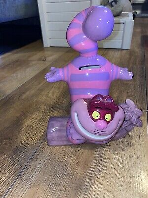Disney Alice In Wonderland Cheshire Cat Ceramic Money Box Piggy Bank E/Condition • 3.50£