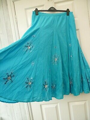 BEING CASUAL Ladies Size 16 Blue Sequin Star Boho Gypsy Peasant Full Maxi Skirt • 12.99£
