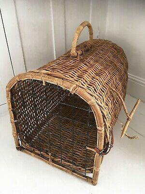 Large Vintage Wicker Cat Basket Cage Travel Carrier, Traditional Rustic Whicker • 23£
