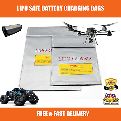 Strong Lipo Battery Fire Safe Charging Bag Fireproof Storage RC Cars Drones UK • 7.99£