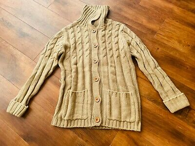 Women's Taupe Beige Cable Knit Aran Style Vintage Chunky Cardigan 12 14 • 4.99£