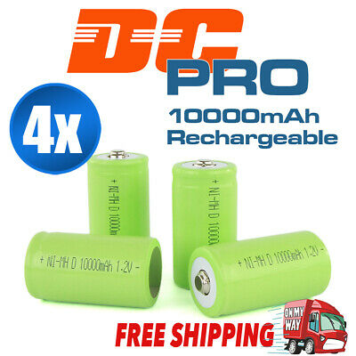 AU23.95 • Buy 4x 10000mah D Size NI-MH Rechargeable Cell Battery 10000-mah NIMH Batteries 1.2V